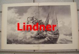 976 Lindner Gerettet Seenot Beiboot 44 X 28 Cm Großbild 1898 !! - Prints