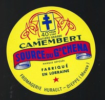Ancienne Etiquette Fromage  Camembert Source Du Gd China Fromagerie Hurault Dieppe Meuse 55 - Cheese