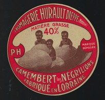 """Ancienne Etiquette Fromage  Camembert Les Négrillons  Fromagerie Hurault """"PH""""  Dieppe Meuse 55 - Cheese"""