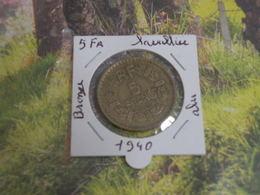 Monnaies - 5fr - 1940 Bronze / Alu - André Lavrillier - Frankrijk