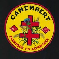 """Ancienne Etiquette Fromage  Camembert Fabriqué En Lorraine """"croix""""  Meuse 55  T - Cheese"""