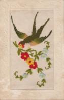 C20- CARTE BRODÉE - FLEURS AVEC OISEAU ROUE GORGE  - 2 SCANS) - Embroidered
