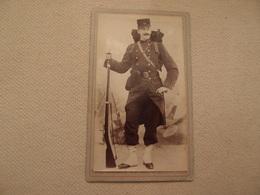 Photo CDV Militaria Empire 1870 Fusil Régiment N°33 Photographe Bonnier à Paris - Krieg, Militär
