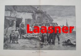 982 Laasner Nach Dem Sturm Seeleute 40 X 28 Cm Großbild 1897 !! - Prints