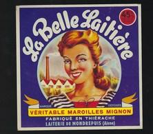 """Etiquette Fromage  Maroilles Mignon La Belle Laitière  Laiterie De Mondrepuis Aisne 02 """"femme"""" - Cheese"""