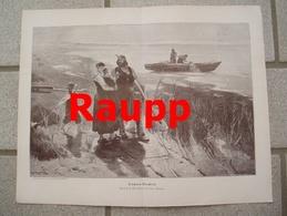 983 Karl Raupp Fischers Abschied Seemann 36 X 27 Cm Großbild 1902 !! - Prints