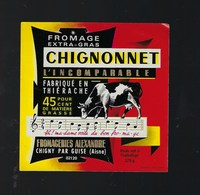 "Etiquette Fromage Chignonnet L'incomparable Fromagerie Alexandre Chigny Aisne 02 "" Vache, Musique"" - Cheese"