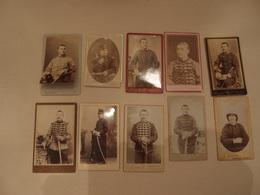 Lot De 10 Photos CDV Militaria Empire 1870 Régiments Identifiés Hussards, Chasseurs ... - Guerre, Militaire