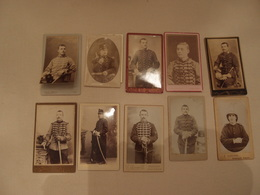 Lot De 10 Photos CDV Militaria Empire 1870 Régiments Identifiés Hussards, Chasseurs ... - Krieg, Militär