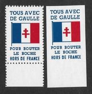 LIBERATION - TOUS AVEC DE GAULLE - COPIES DENTELEES ET NON DENTELEES - Commemorative Labels