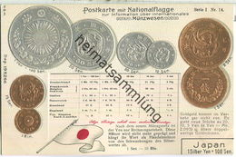 Münzenkarte - Nationalflagge - Japan - Prägedruck - Verlag H. S. M. - Monnaies (représentations)