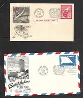 United Nations, N.Y., 21 SEP 1959, Air Mail, 5c  Postal Card; 7c Stamped Envelope, Unaddressed - New York – UN Headquarters