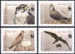 148.KYRGYZSTAN 2009 SET/4 STAMP BIRDS, FALCONS, W.W.F. MNH - Kirgizië