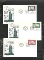 United Nations, 10th Anniversary, N.Y. OCT 25 1955,set Of 3 On 3 Covers, Unaddressed - New York – UN Headquarters