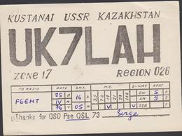Carte Radio Amateur QSL KUSTANAI USSR KAZAKHSTAN Zone 17 Région 026 - 1976 - UK7LAH - Kazakhstan