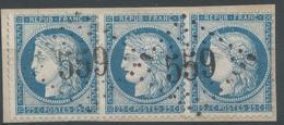 Lot N°50075  Variété/Paire + Un N°60/fragment, Oblit GC 559 Bourdeilles, Dordogne (23), Ind 6, Taches Blanches Face Au V - 1871-1875 Cérès