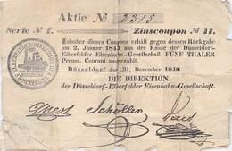 Düsseldorf-Elberfelder Eisenbahn-Gesellschaft Zinscoupon No.11 Von 1840 - Spoorwegen En Trams