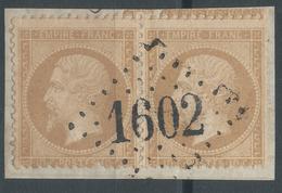 Lot N°50078  Variété/Paire/n°21/fragment, Oblit GC 1602 Fuans, Doubs (24), Ind 12, Piquage Avec Voisins - 1862 Napoleone III