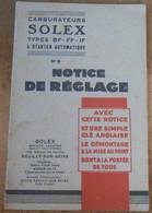 Carburateurs Solex – Notice De Réglage N°9 - Motos