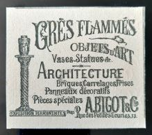 GRES FLAMMES BELLE PUBLICITE 1900  A BIGOT ARCHITECTE VASES PANNEAUX DECORATIFS ART NOUVEAU  1900 ANTIQUE JUNGENSTILL AD - Pubblicitari
