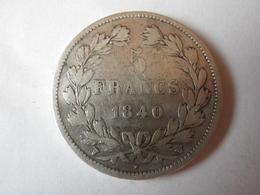 5 Francs Louis Philippe 1840 W (tranche En Relief) - France