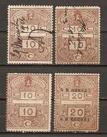 Belgique 1926 - Petit Lot De 4 Timbres Fiscaux - 10 C Et 20 C - 2 Neufs - 2 Décollés - Timbres