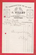 FACTURE 1917 OPTICIEN PILLET 30 RUE DU BOIS MERRAIN A CHARTRES EURE ET LOIR - France