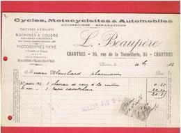 FACTURE 1912 CYCLE MOTOCYCLE AUTOMOBILE BEAUPERE 35 RUE DE LA TONNELLERIE A CHARTRES EURE ET LOIR VELO PHONOGRAPHE - France