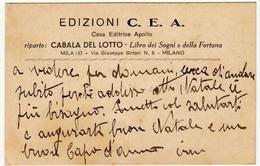 BIGLIETTI DA VISITA - EDIZIONI C. E. A. - CASA EDITRICE APOLLO - RIPARTO: CABALA DEL LOTTO - 1933 - Vedi Retro - Cartoncini Da Visita