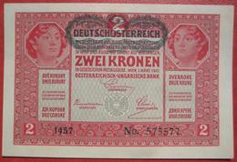 """2 Kronen 1.3.1917 (WPM 50) Overprint / Überdruck """"Deutschösterreich"""" (1920) - Austria"""
