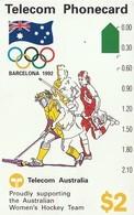 TARJETA TELEFONICA DE AUSTRALIA, BARCELONA 1992 - Women's Hockey (N91041-1). AUS-M-048. (098) - Juegos Olímpicos