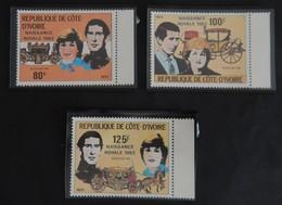 """COTE D IVOIRE YT 622/624 NEUFS(**)AVEC BDF""""NAISSANCE ROYALE """"ANNÉE 1982 - Côte D'Ivoire (1960-...)"""