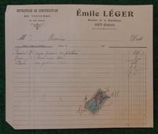 Document Commercial Daté De 1921 - Entreprise De Construction De Voitures Émile Léger à Gien - Automovilismo