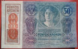 """50 Kronen 2.1.1914 (WPM 54a) - Overprint / Überdruck """"Deutschösterreich"""" (1919) - Austria"""