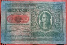 """100 Kronen 2.1.1912 (WPM 55a) - Overprint / Überdruck """"Deutschösterreich"""" (1919) - Austria"""