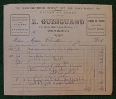 Document Commercial Daté De 1921 - Quincaillerie L. Guinguand Sise Quai Maréchal Joffre à Gien - Artesanos