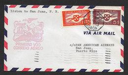Portugal Premier Vol Lisbonne San Juan Puerto Rico 1941 First Flight Lisbon San Juan US Cover - Poste Aérienne