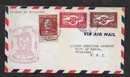 Portugal Premier Vol Lisbonne Trinidad Pan Am 1941 First Flight Lisbon BWI British West Indies Cover - Poste Aérienne