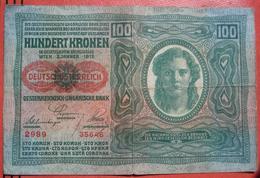 """100 Kronen 2.1.1912 (WPM 56) Both Sides Text German - Overprint / Überdruck """"Deutschösterreich"""" (1920) Papier Dick - Austria"""