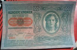 """100 Kronen 2.1.1912 (WPM 56) Both Sides Text German - Overprint / Überdruck """"Deutschösterreich"""" (1920) Papier Dünn - Austria"""