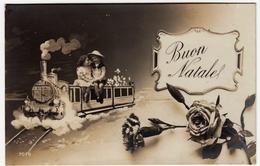 BUON NATALE - COPPIA BAMBINI SU TRENO - 1912 - Vedi Retro - Formato Piccolo - Santa Claus