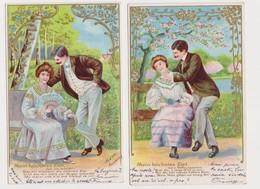 4  Cartes Fantaisie Gaufrées / Couple . Mein Höchstes Ziel - Paare