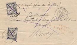 Taxe T18 2 Pces Annulés Plume Obl TULLINS ISERE Et VINAY - Taxes Successives De Présentation - Lettre - 1859-1955 Briefe & Dokumente