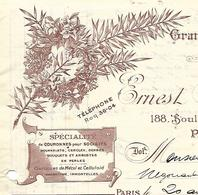 Facture 1921 / 75 PARIS / E. MASQUELIER / Fabrique De Couronnes, Gerbes Fleurs, Arbustes En Perles - France