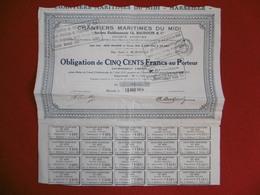 ACTION OBLIGATION DE 500 FRANCS CHANTIERS MARITIMES DU MIDI 1919 - Aandelen