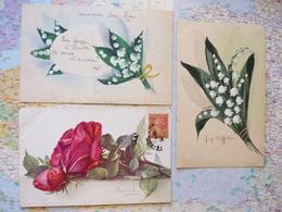 Illustrations De Fleurs : 1 Signée Barle + 2 Non Signées /  3 Cartes - Illustrateurs & Photographes