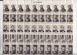 PLIEGO DE 50 VIÑETAS DE RUPERTO CHAPI DE VILLENA (ALICANTE) COLOR NEGRO (1951) - VER IMAGEN - Hojas Completas