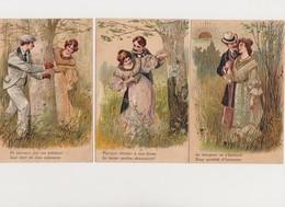 3 Cartes Fantaisie Gaufrées / Couple Dans Un Bois - Paare