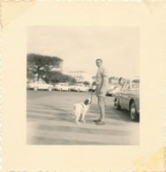 Snapshot Homme Se Balladant Avec Chien Dog épagneul Voitures Anciennes Sandales - Photos