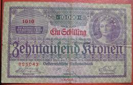 """10000 Kronen 2.1.1924 (WPM 87) - Overprint / Überdruck """"1 Schilling"""" - Austria"""
